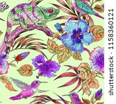 seamless tropical pattern with... | Shutterstock . vector #1158360121