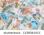 dollars and russian rubles... | Shutterstock . vector #1158361411