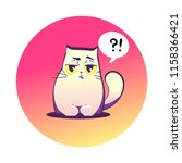 vector illustration  grumpy cat ... | Shutterstock .eps vector #1158366421