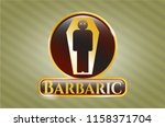 gold badge with dead man in... | Shutterstock .eps vector #1158371704