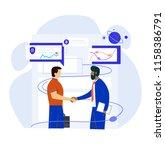 men business handshake. vector... | Shutterstock .eps vector #1158386791