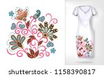 embroidery colorful trend... | Shutterstock . vector #1158390817