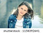 outdoor portrait of beautiful... | Shutterstock . vector #1158392641