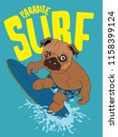 cool surfer dog and surfboard... | Shutterstock .eps vector #1158399124