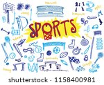 sports hand illustrated symbols ... | Shutterstock .eps vector #1158400981