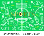 sports blackboard with hand... | Shutterstock .eps vector #1158401104