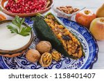 chiles en nogada  ingredients... | Shutterstock . vector #1158401407