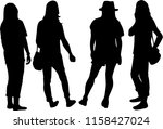 silhouette of a woman. | Shutterstock .eps vector #1158427024