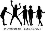 vector silhouette of children... | Shutterstock .eps vector #1158427027