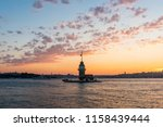 maiden's tower with sunset sky... | Shutterstock . vector #1158439444
