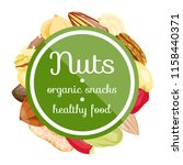 different nuts in circle form... | Shutterstock .eps vector #1158440371