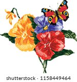 vector image of pansies and... | Shutterstock .eps vector #1158449464