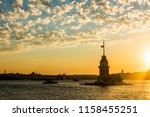 maiden's tower with sunset sky... | Shutterstock . vector #1158455251