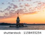 maiden's tower with sunset sky... | Shutterstock . vector #1158455254