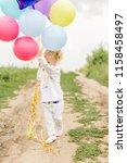 happy little girl. festive... | Shutterstock . vector #1158458497