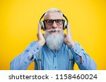senior hipster with stylish... | Shutterstock . vector #1158460024