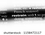 restrain word in a dictionary.... | Shutterstock . vector #1158472117