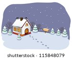 winter cottage in the forest.   Shutterstock .eps vector #115848079