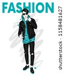 handsome guy in stylish clothes.... | Shutterstock .eps vector #1158481627