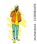 handsome guy in stylish clothes.... | Shutterstock .eps vector #1158481654