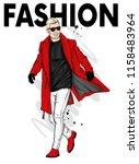 a handsome man in a long coat ... | Shutterstock .eps vector #1158483964