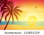 Stock vector a tropical sunset sunrise with palm trees 115851229