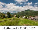 mountain valley railway station ... | Shutterstock . vector #1158515137
