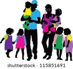 family silhouettes | Shutterstock .eps vector #115851691