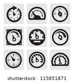 vector black meter icons set on ... | Shutterstock .eps vector #115851871