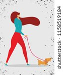 Stock vector girl walking with dog vector illustration in a flat style 1158519184