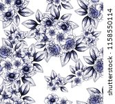 flower print in bright colors.... | Shutterstock . vector #1158550114