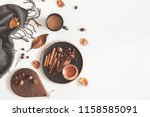 autumn cozy composition. cup of ... | Shutterstock . vector #1158585091