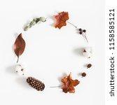 autumn composition. wreath made ... | Shutterstock . vector #1158585121
