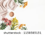 autumn composition. cup of... | Shutterstock . vector #1158585151