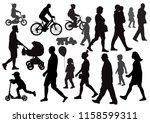 group of people going  walking  ... | Shutterstock .eps vector #1158599311