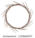 round wreath from dry twigs... | Shutterstock . vector #1158606937