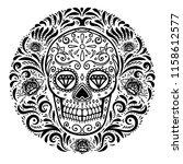 mexican sugar skulls with... | Shutterstock . vector #1158612577