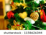close up decorate pine cone on...   Shutterstock . vector #1158626344