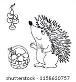 cute hedgehog with basket of... | Shutterstock .eps vector #1158630757