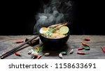 Instant Noodles In Wooden Bowl...