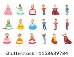 little girls dressed and little ... | Shutterstock .eps vector #1158639784
