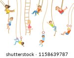 kids on swings and other rope... | Shutterstock .eps vector #1158639787