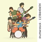 musician playing music together ... | Shutterstock .eps vector #1158640654