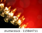 Twinkling Lights on Red - stock photo