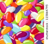 Seamless pattern with jelly beans of various colors. Vector illustration.