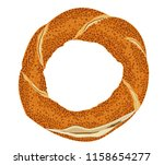 turkish traditional bagel simit.... | Shutterstock .eps vector #1158654277