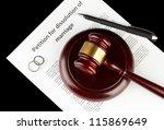 divorce decree and wooden gavel ... | Shutterstock . vector #115869649