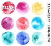 set of watercolor stain. spots... | Shutterstock .eps vector #1158699151