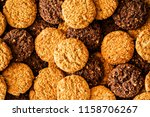 many cookies stacked high angle ... | Shutterstock . vector #1158706267
