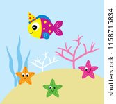 cute happy fish happy birthday... | Shutterstock .eps vector #1158715834